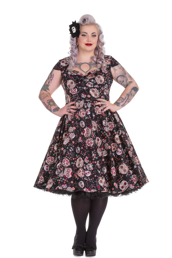 Sugar skull black party dress Rockabilly Sugar Skull Print dresses