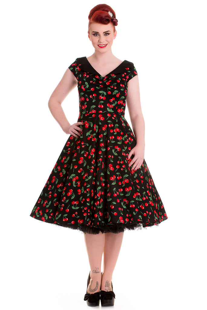 Hell Bunny Sweet Cherry Pop Cherry Love 50's Pinup V-neck Flare Party Dress - Skelapparel - 1