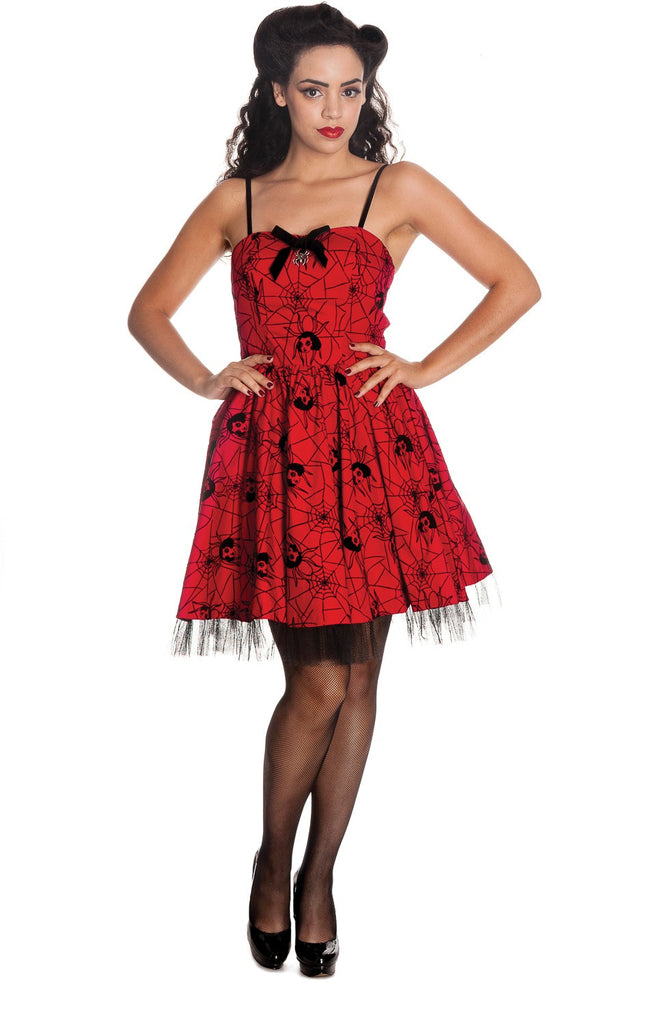 Hell Bunny Rockabilly Gothic Spooky Black Widow & Spiderweb Mini Dress - Skelapparel