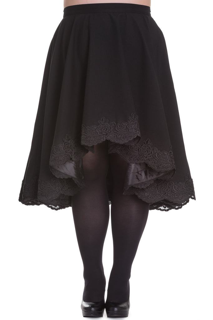 Gothic Victorian Black Lace Trim Flare Skirt