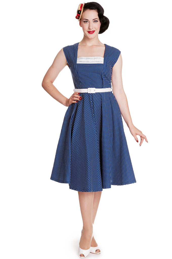 Hell Bunny 50's Vintage Style Country Girl Polka Dot Square Neck Flare Party Dress - Skelapparel - 1