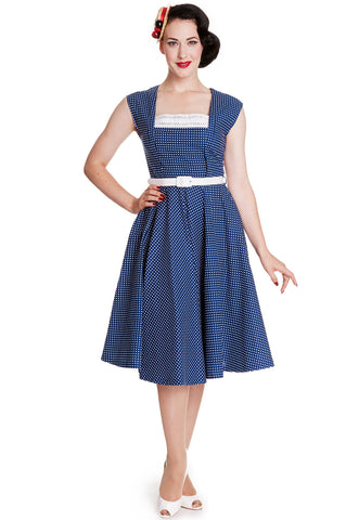 Hell Bunny 50's Vintage Style Country Girl Polka Dot Square Neck Flare Party Dress - Skelapparel