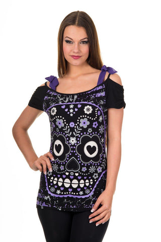 Purple Candy Flower Sugar Skull Bow Tie Shoulder Straps Top - Skelapparel