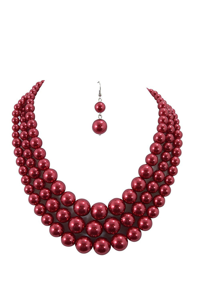 Red Pearl Bridal Cocktail Party Statement Necklace & Earrings Set - Skelapparel