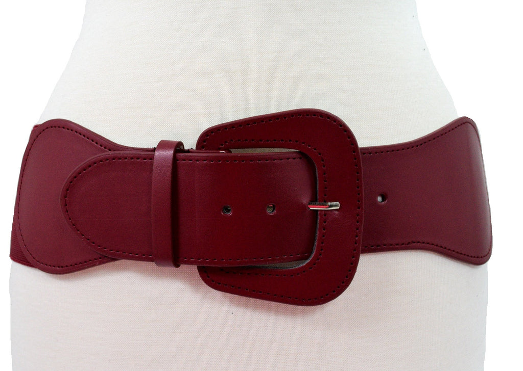 Retro Vintage Chunky Buckle Wine Red Elastic Wide Stretch Waist Belt - Skelapparel