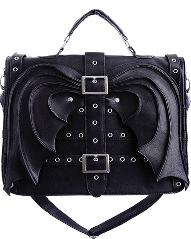 Gothic Vamp Gotham Knight Bat Wings Devil Wings Black Satchel Bag - Skelapparel