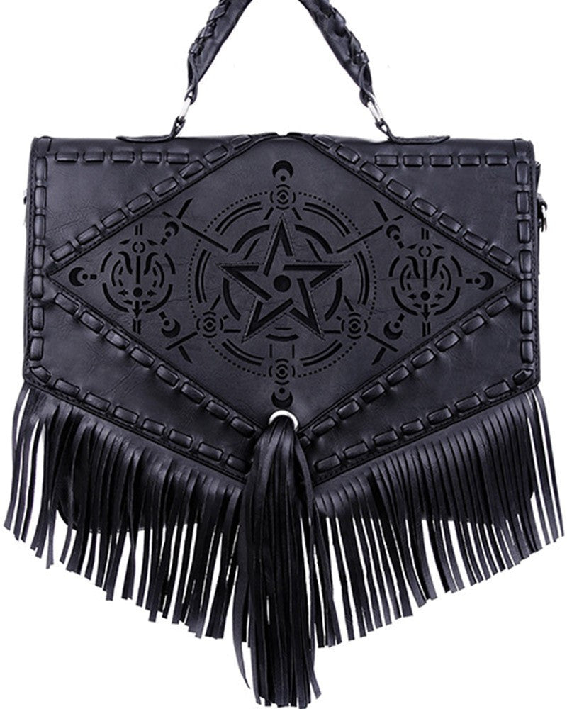 Gothic Gypsy Witch Dark Magic Pentagram Design Satchel Bag with Fringes - Skelapparel