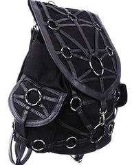 Restyle Dark Side Gothic O-rings & Black Harness Design Witchcraft Backpack - Skelapparel - 2