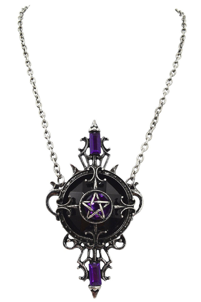 Restyle Mystic Mirror Gypsy Gothic Purple Pentagram Necklace Pagan/witch/magic - Skelapparel