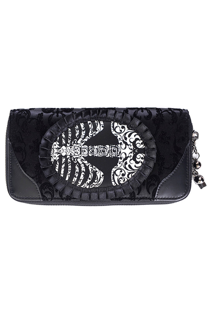 Banned Goth Steampunk Flocked Ribcage Skeleton Cameo Zip Around Wallet - Skelapparel