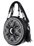 Restyle Gothic Occult Henna Round Black Faux Leather Moon Handbag - Skelapparel