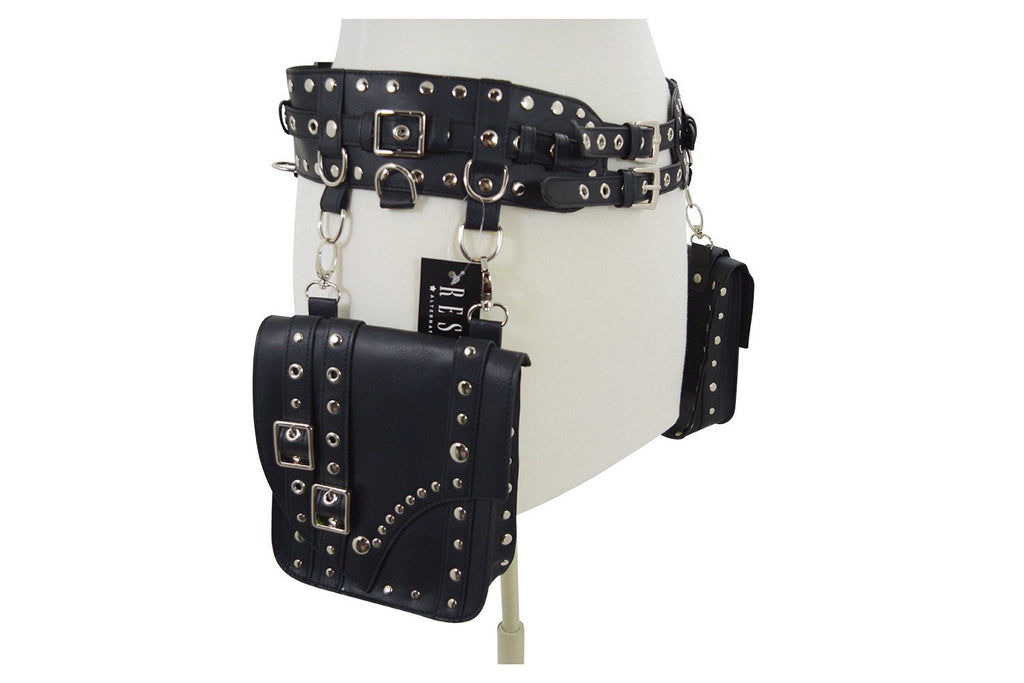 Restyle Western Steampunk Hip Saddle bags Double Buckle Wide Utility Belt Bag - Skelapparel