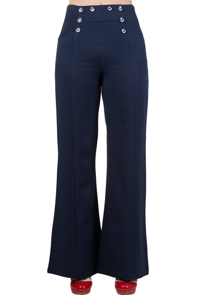 Banned 50's Vintage Sailor High Waist Double Buttoned Wide Leg bell flare Pants - Skelapparel - 1