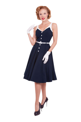 Vintage Vixen Pinup Sailor Navy Sea Breeze Swing Dress - Skelapparel