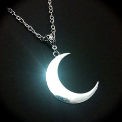 Witch moon silver moon pendant necklace