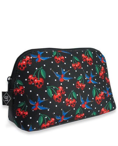 Liquorbrand Skull Cherry and Sparrow Tattoo Art Cosmetic Bag Pouch - Skelapparel