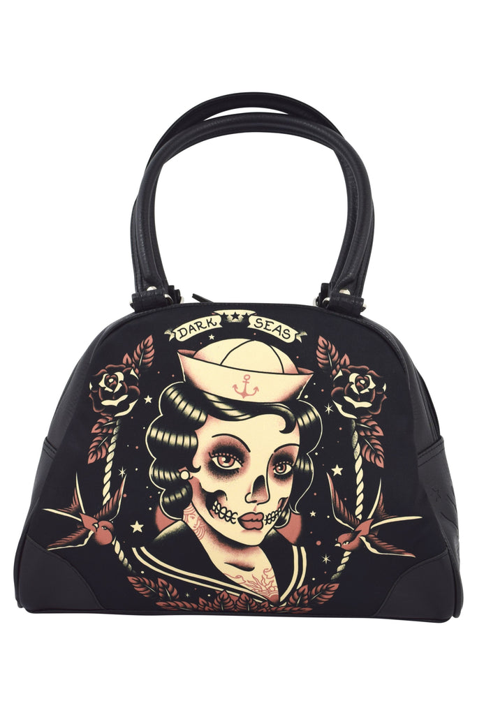 Liquorbrand Gothic Dark Seas Sailor skull lady tattoo Bowler Purse