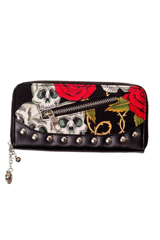 Lost Queen Alternative Gothic Valentine Skull & Roses Tattoo Wallet