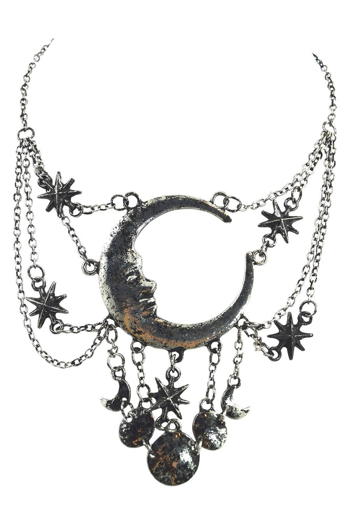 Celestial Goth Crescent Moon Face and Stars Sleepless Nights Witchy Silver Necklace - Skelapparel