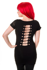 Gothic Skeleton Print with Spine cut out Back and Shoulder Extra Length Top - Skelapparel