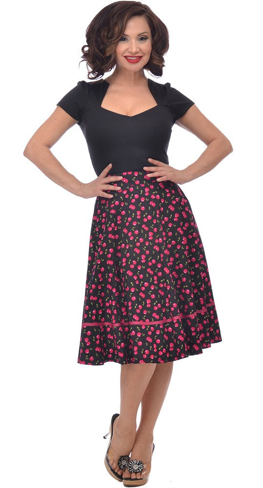 Retro Vintage Pin-up Cherry Cherry Juicy Fruit Print Swing Skirt - Skelapparel - 1