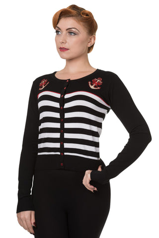 Banned Apparel Pinup Sailor Black White Striped Nautical Anchor & Bow Cardigan - Skelapparel
