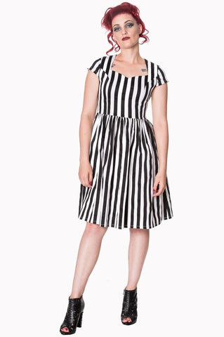 Gothic Black and White Stripes Night Circus Dress - Skelapparel