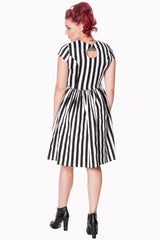 Gothic Black and White Striped Dress