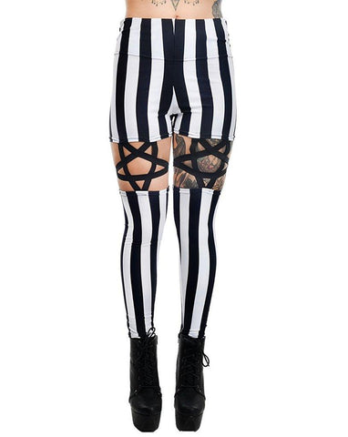Goth Night circus Inverted Pentagram Harness Garter strap High Waist Black & White Stripe Leggings - Skelapparel