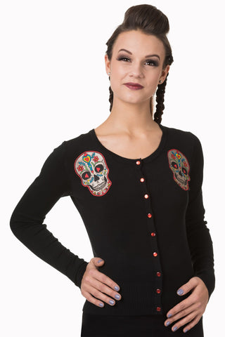 Day of the Dead Flower Heart Sugar Skull Embroidery Black Sweater Cardigan - Skelapparel