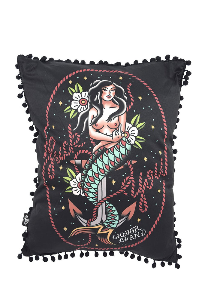 Liquorbrand Traditional Mermaid Tattoo Old School Pin Up Couch Throw Pillow - Skelapparel