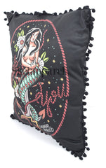 Liquorbrand Traditional Mermaid Tattoo Old School Pin Up Couch Throw Pillow