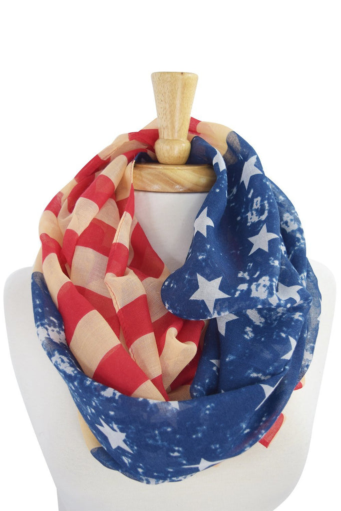 Vintage Design American Flag Stars and Stripes Infinity Scarf - Skelapparel - 1