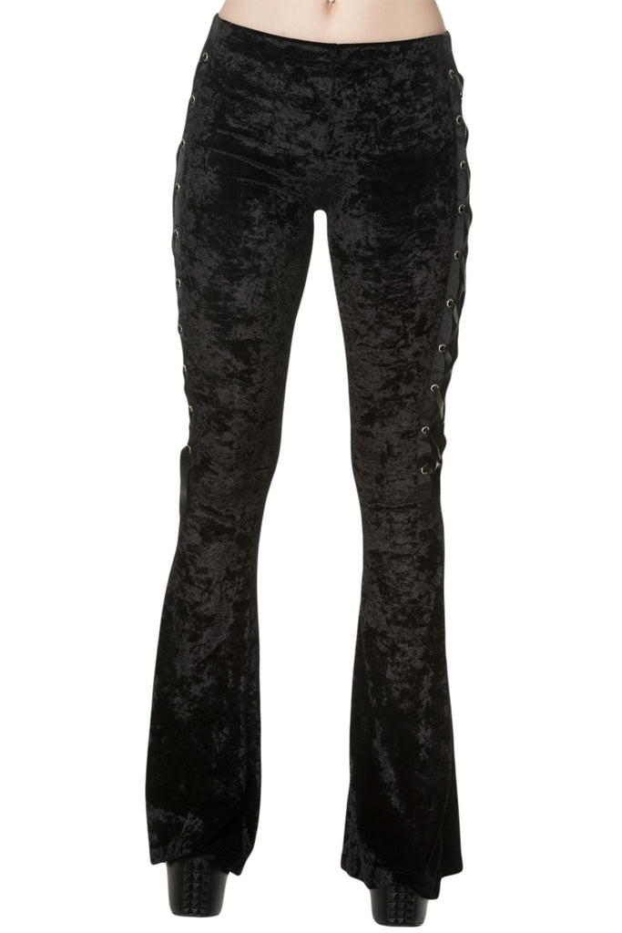 Banned Gothic Black Crushed Velvet Side Corset Bell Bottoms Flared Pants - Skelapparel