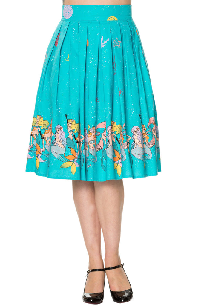 60's Retro Mermaids Vintage Mermaid Print Pleated Print midi Turquoise Blue skirt - Skelapparel