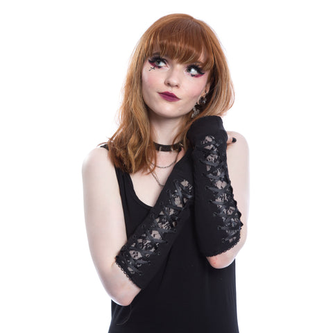 Poizen Industries Arm Warmers Gothic Punk Alternative Style Fingerless Gloves - Vita