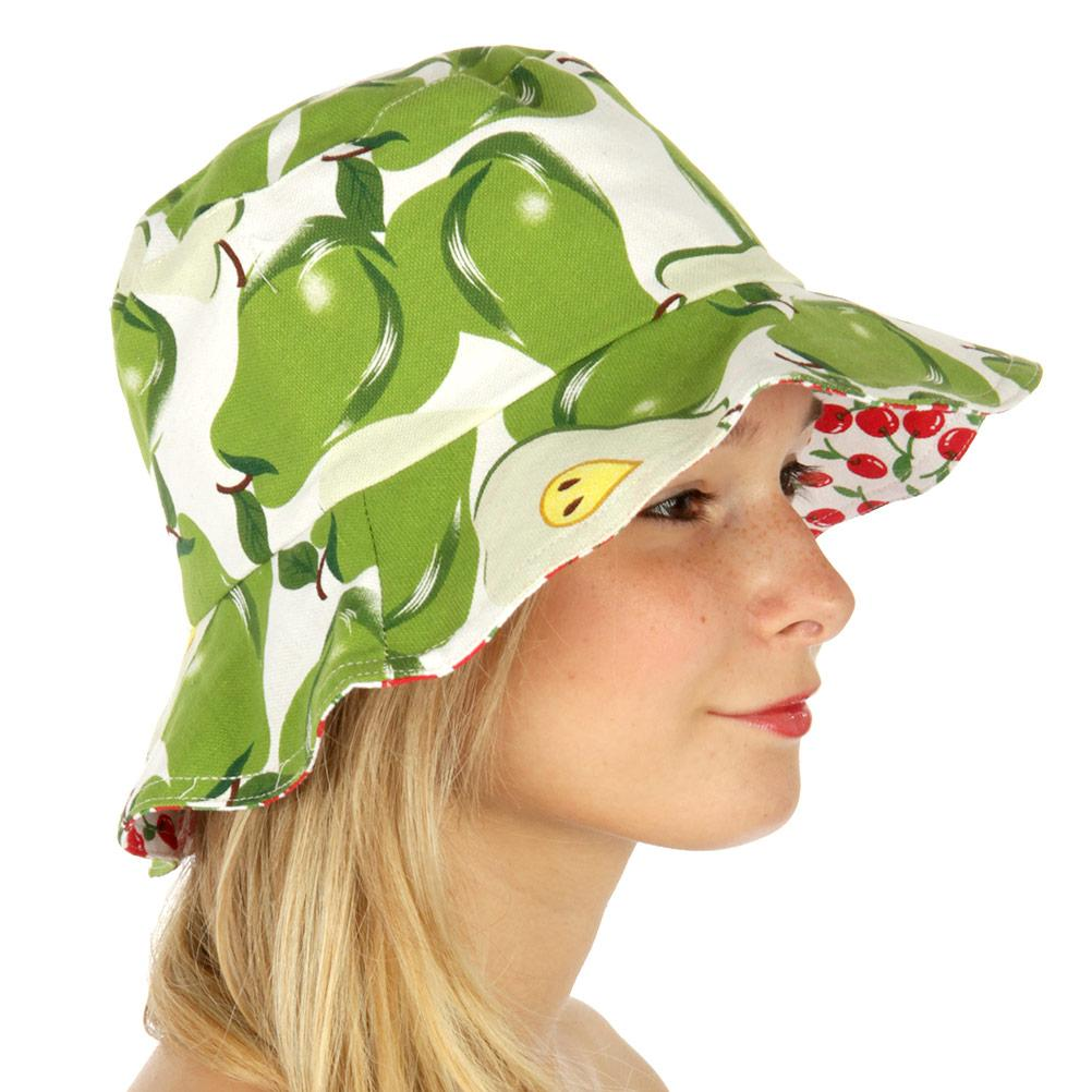 Retro Mod Fruit Love Lemon & Cherry or Pear & Cherry Reversible Bucket Hat - Skelapparel