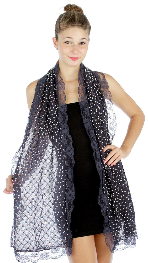 Lolita Love Mesh Knit Mini Dots and Lace Trim Fashion Scarf - Navy - Skelapparel