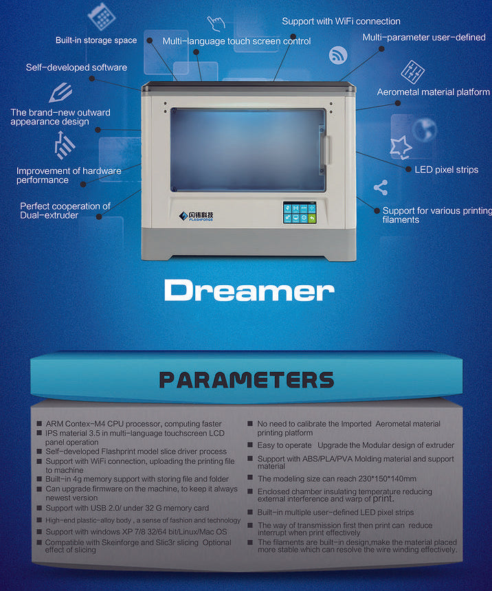 Flashforge Dreamer Specifications