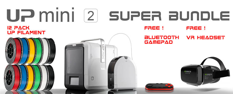 Up Mini 2 by TierTime 3D Printer Superstore Bundle with free VR Headset and Bluetooth Gamepad on Sale in Australia