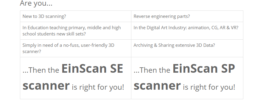 einscan se sp 3D scanner comparison table printer superstore melbourne australia