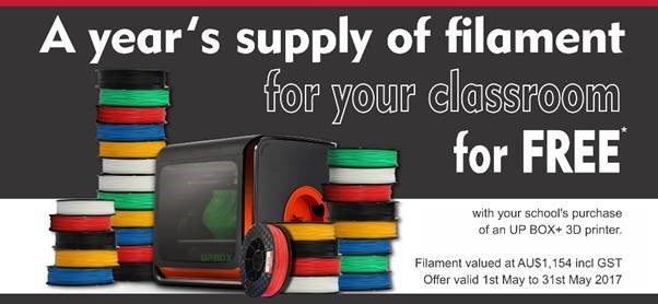 Up Box with Free FIlament educational Bundle Offer