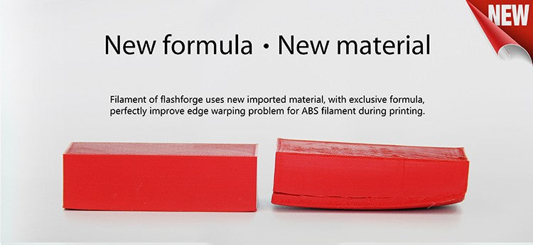Filament for Flashforge Dreamer has a new formular for low warping ABS prints