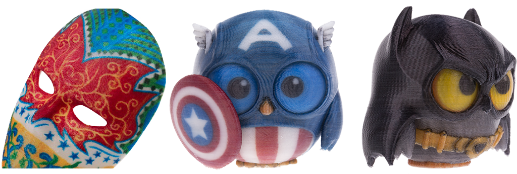 xyz da vinci color colour 3d printer printing full printed prints models mask superhero owl