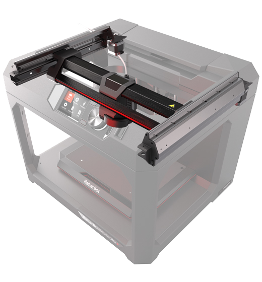 Makerbot Replicator+ gantry system has been re-engineered