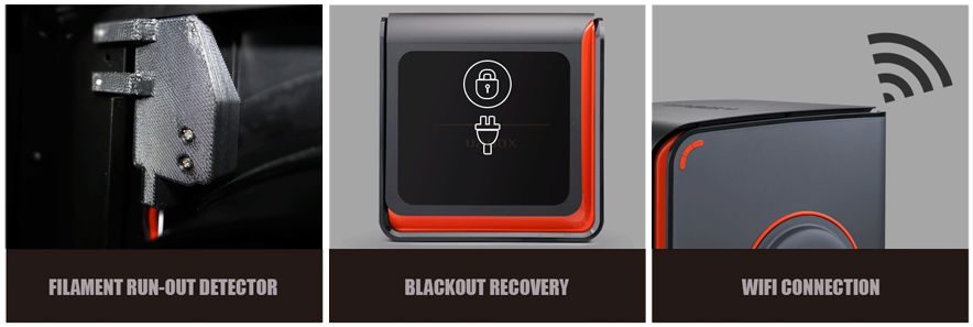 Up Box+ new features include filamet run out detection, blackout recovery and wifi connection