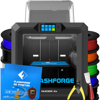 flashforge guider IIs 3d printer complete essentials bundle with tools filaments bed sheets and hot end upgrades