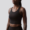 Meshed Up Cropped Sports Bra (Black)
