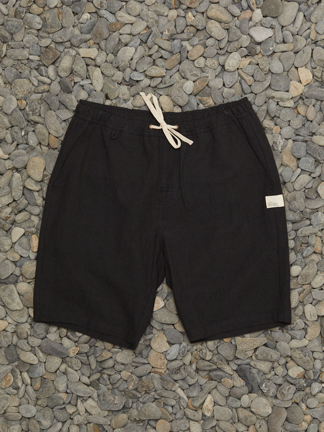 DINGHY LINEN SHORT - BLACK