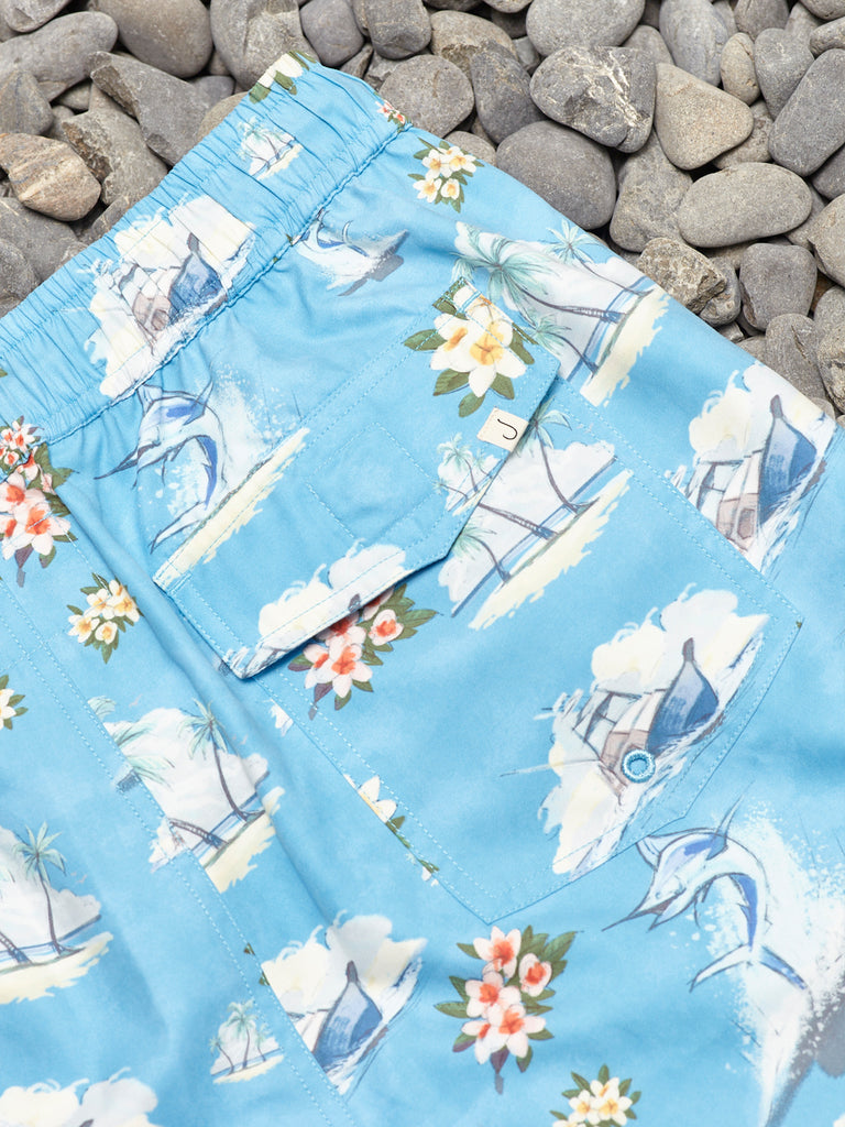 FLORAL MARLIN SHORTS - BLUE